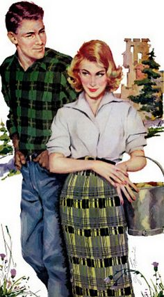 "*John Fernie  Mutual attraction. This painting was with the story ""The Girl Back Home"" in the Saturday Evening Post in January 1956."