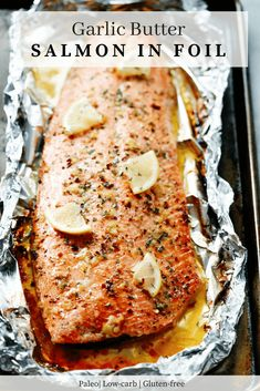 This Garlic Butter Salmon in Foil recipe is an ultra-easy and a flavoutful dinne. This Garlic Butter Salmon in Foil recipe is an ultra-easy and a flavoutful dinner to make during your busy weeknights. It's ready in less than 30 minutes. Salmon In Foil Recipes, Healthy Salmon Recipes, Fish Recipes, Seafood Recipes, Baking Recipes, Salmon Foil, Seafood Dishes, Kitchen Recipes, Vegetarian Recipes