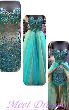 Ombre Homecoming Dresses High Low Blue Champagne Tulle Crystals Beaded Bodice Prom Evening Gowns For Teens - Thumbnail 1