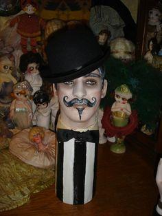 Male Mannequin Head Classic Villain Mustache Man by flapperdashery, $265.00