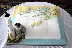 This Cake Was An Exact Replica Of The Admiralty Chart For This Area There Were L0 Navigation Lights That Lit In Sequence With The…
