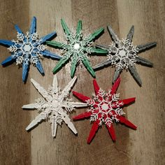 Five inch by five inch wooden glittered clothespin snowflake ornaments with attached white snowflake, set of five multiple color (blue, red, silver, white and green)// ready to add to tree or wall// available all in one color Christmas Ornament Crafts, Craft Stick Crafts, Holiday Crafts, Snowflake Ornaments, Snowflakes, Clothes Pin Ornaments, Clothes Pin Wreath, Homemade Christmas, Christmas Diy