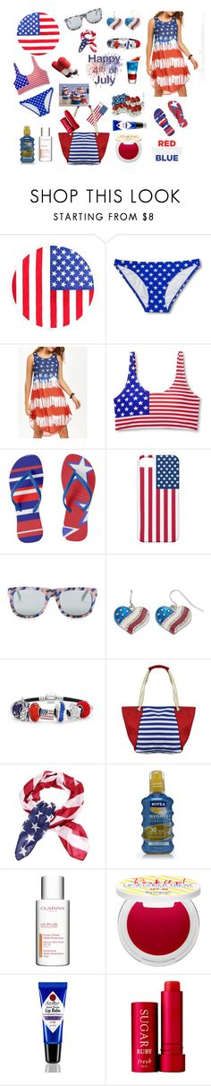 4th Of July Fun In The Sun by siriusfunbysheila1954 on Polyvore featuring Bling Jewelry, Mudd, OXYDO, Xhilaration, Supergoop!, Jack Black, Clarins, Nivea, Fresh and Nasty Gal