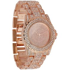 Rose Gold Diamante Watch ($54) ❤ liked on Polyvore featuring jewelry, watches, candy pink, pink jewelry, pink gold jewelry, diamante jewelry, rose gold jewelry and rose gold jewellery
