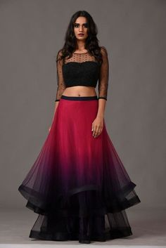 Stunning modern lehenga love the colours and the sleeves, really like the hair and makeup to Indian Gowns Dresses, Indian Fashion Dresses, Indian Designer Outfits, Designer Dresses, Netted Blouse Designs, Saree Blouse Designs, Dress Designs, Lehnga Dress, Lehenga Choli