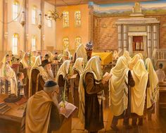Observant Jews walking around shul with the four species on Sukkot.  Painting by Alex Levin.  artlevin.com