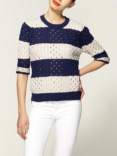 Striped Cable Sweater--perfect for chilli LA evenings.