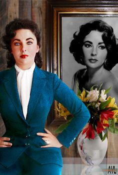 Elizabeth Taylor (1932 - 2011) , taken 1958, colorized with background composited by Alex  Y. Lim
