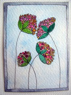 Flowers Paint and pen. Original Watercolor ACEO ATC Painting by katebuckleyart on Etsy