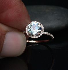 14k Rose Gold 7mm Aquamarine Round and Diamonds by Twoperidotbirds, $735.00