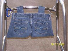 Pattern needed for walker tote bag Diy Bag Organiser, Bag Organization, Nursing Home Crafts, Baby Kids Wear, Walker Accessories, Homemade Bags, Sewing To Sell, Bib Pattern, Patterned Jeans