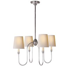 Thomas O Brien Vendome Small Chandelier in Antique Silver with Natural Paper Shades by Visual Comfort TOB5007AS-NP