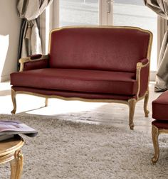 Paris collection ostrich sofa shown here in our faux ostrich leather. Finished in an antique effect gold leaf with brass coloured stud detail. Made to a high standard being carved from solid walnut wood and painted by artisans to create that original Parisian atmosphere.