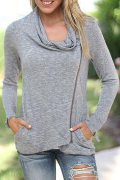 Gray Heaps Collar Long Sleeve Coat GRAY: Jackets & Coats | ZAFUL