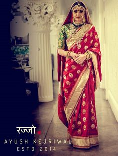 Vintage red bridal saree by Ayush Kejriwal For purchases email me at designerayushkejriwal@hotmail.com or what's app me on 00447840384707  We ship WORLDWIDE. Instagram - designerayushkejriwal