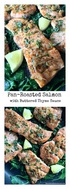 Pan-Roasted Salmon with Thyme Butter Sauce by thereluctantentertainer #Salmon #Thyme #Butter