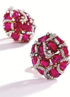 Pair of 18 Karat Gold, Platinum, Ruby and Diamond Earclips, Verdura, 1992 - Sotheby's
