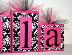 Mila Collection B Damask and Hot pink Name blocks by slcshop