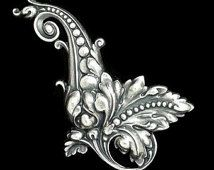 Art Nouveau Large Fancy Left Leaf Scroll in Silver Plated Brass Stamping Qty 1 Made in the USA