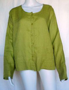 FLAX UNDERFLAX 2/3 Shirt, Palm Green Linen, 1G (1X), Sleepwear / Blouse, NWOT #Flax #Sleepshirt