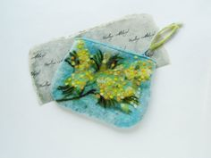 Wet Felted Spring flowers Golden Wattle Coin Purse by MSbluesky