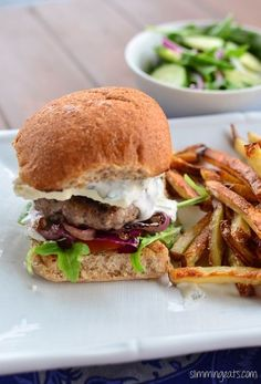 Slimming Eats Greek Style Lamb Burgers - Slimming World and Weight Watchers friendly