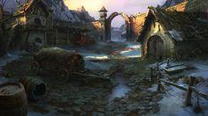 Last stop before the Titans the ruins of Alberetor Stables by VityaR83 Fantasy landscape Fantasy village Art
