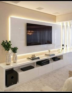 Modern Tv Room, Modern Tv Wall Units, Modern Living, Luxury Living, Minimalist Living, Home Room Design, Home Interior Design, House Design, Luxury Interior