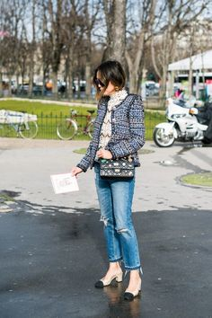 Aimee Song puts a cool girl spin on tweed with ripped skinnies and chunky heels