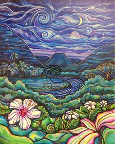 "Original 24""x30"" acrylic on canvas ""A Night at Waimea Valley"" sold at the Celebrating the Arts event last Friday for donation to Sunset Beach Elementary kids' art program"