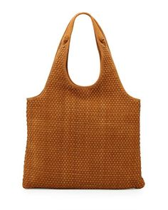 Elizabeth and James Zoe Woven-Suede Carryall Bag