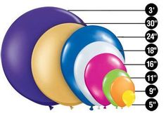 Handy chart with balloon shapes & sizes
