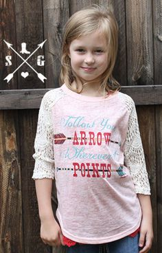 Kid's Follow Your Arrow with Lace Sleeves