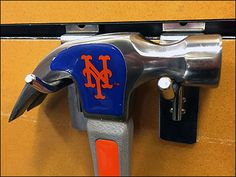 New York Mets Branded Hammer – Fixtures Close Up New York Mets Baseball, Ny Mets, Mets Team, Sports Brands, Hooks, Pin Up, Retail, Wall Hooks, Sleeve