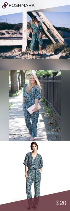 H&M Green Leopard Print Jumpsuit Green, navy and pink stylish and comfy jumpsuit. NWT. H&M Pants Jumpsuits & Rompers