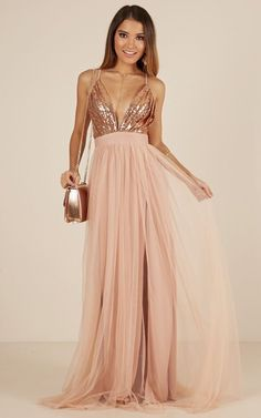 Charming Rose Gold Sequin and Tulle Long Spaghetti Straps Simple Prom Dresses, Bridesmaid Dresses, Simple Prom Dress, Simple Dresses, Summer Dresses, Formal Dresses, Maxi Dresses, Dusty Pink Bridesmaid Dresses, Gold Bridesmaid Dresses, Wedding Dresses, Stunning Dresses