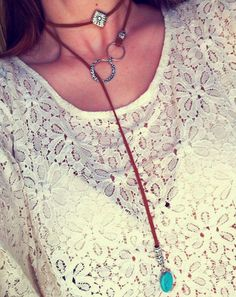 Double wrap Necklace suede turqouise choker by BusyBeeToryLee
