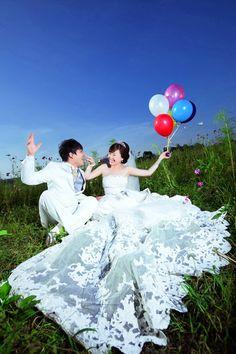俏皮藍天氣球