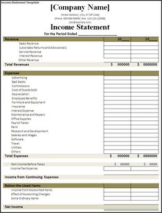 State Your Income with an Income Statement Template Income statements are a critical element in a business. In any business, income statements are still crucial Cash Flow Statement, Profit And Loss Statement, Income Statement, Bank Statement, Microsoft Excel, Personal Financial Statement, Personal Finance, Cost Of Goods Sold, Net Income