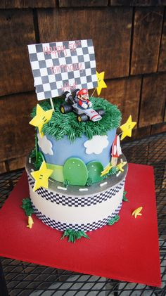 Tiered Mario themed birthday cake Adult Birthday Cakes, Themed Birthday Cakes, Mario, Desserts, Wedding, Food, Decor, Tailgate Desserts, Valentines Day Weddings