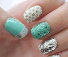 turqoise, silver, sparkle, polka dots, french tip