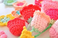 Crochet Flowers in Colors, Colors, Colors!  Crocheting colorful little flowers just makes me happy. ~ Easter weekend! - ByClaire - crochet patterns, crochet books, crochet yarn