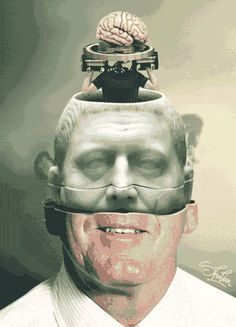 Surreal Animated GIFs of Faceless People With Moving Mechanical Parts in Their Heads