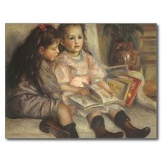 Het portret van Jean en Genevieve Caillebotte (1895) door Renoir is een portret van de vintage impressionisme fijn kunst schilderend kenmerkend twee jonge zusters die een boek voor school lezen. Zij zijn de dochters van Maritial en Gustave Caillebotte. <br>Ongeveer de kunstenaar: <br>Pierre-Auguste Renoir (1841-1919) was een belangrijke schilder in de ontwikkeling van de stijl van de Impressionist. De schilderijen van Renoir zijn opmerkelijk voor hun trillende lichte en verzadigde kleur…