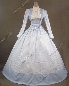 Civil War Victorian Cotton Ball Gown Day Dress Reenactment 187 XL | eBay
