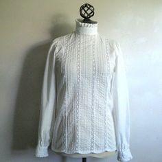 Vintage 1980s White Shirt LAURA ASHLEY Ruffle Lace Victorian Style Dress Blouse 8