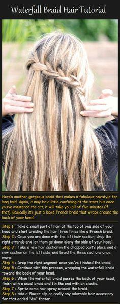 Pinterest Hairstyles: Waterfall Braid Hair Tutorial
