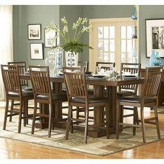 Amazon.com: Homelegance Everett 9 Piece Counter Dining Room Set In Oak:  Furniture