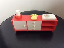 Vintage dolls house plastic Sideboard,Record Player,Telephone By Jean W Germany
