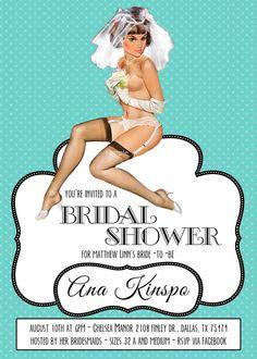 Vintage Pin Up Girl Invitation- Bachelorette party, Hens night, Lingerie Shower Birthday invite diy print file PRINTABLE on Etsy, $15.99